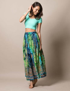 Jyoti Tie Dye Blue Green Skirt made in India Fair Trade Gift