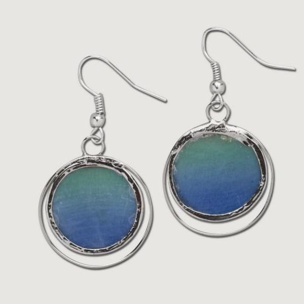 Fair Trade Earrings Green and Blue made by artisans