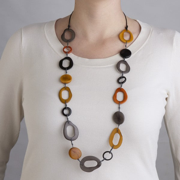 Handmade Papaya Necklace Round Unique Fair Trade