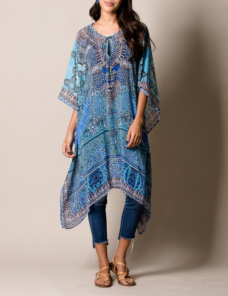 Blue Flowy Katan with Print Fair Trade on Model