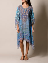 Blue Fair Trade Katan Flowy Cover Up on Model