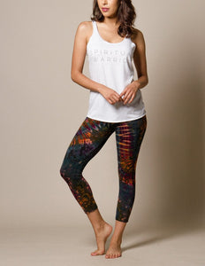 Tie Dye Crop Legging Capris Earth Tones for Yoga