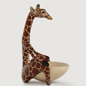 Giraffe Wood Bowl in Yoga Meditation Pose Fair Trade Gift Design