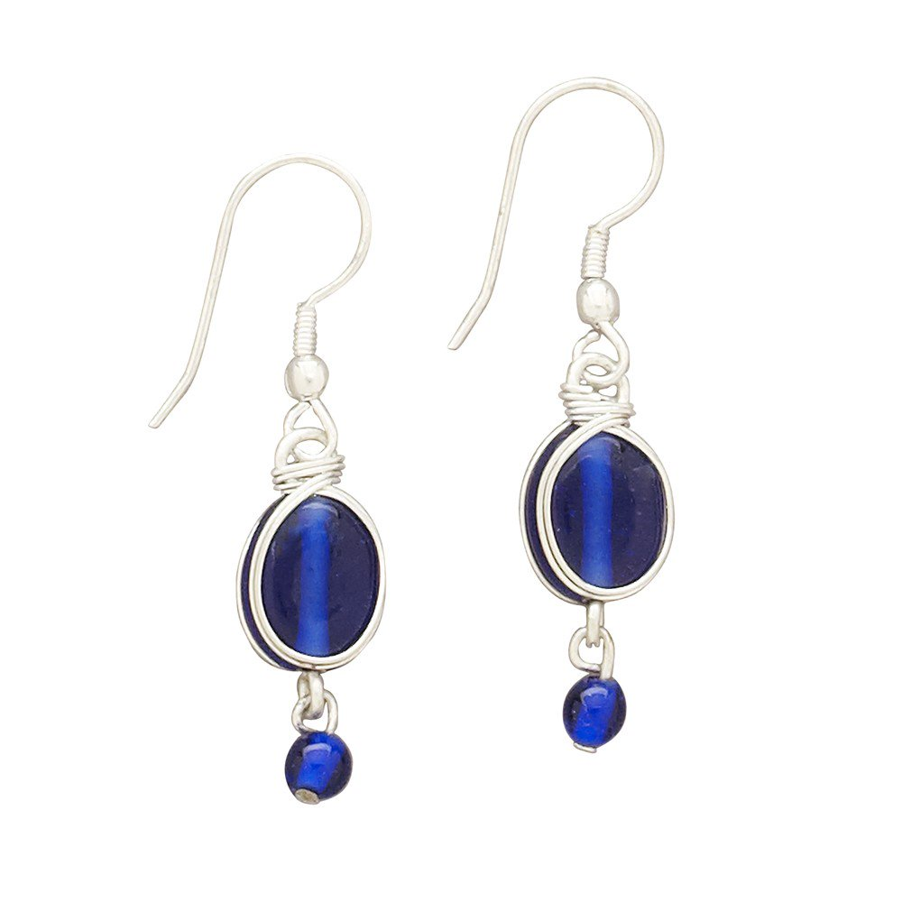 Blue Glass with Silver Fair Trade Earrings