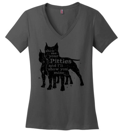 Ladies Classic Fit V-Neck - Show Me Your Pitties Cropped Ears