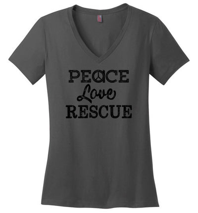 Ladies Classic Fit V-Neck - Peace Love Rescue
