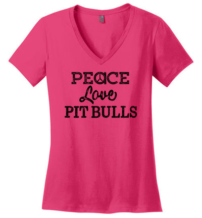 Ladies Classic Fit V-Neck - Peace Love Pitbulls