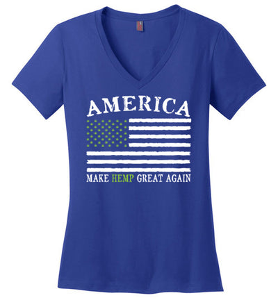 Ladies V-Neck - America, Make Hemp Great Again