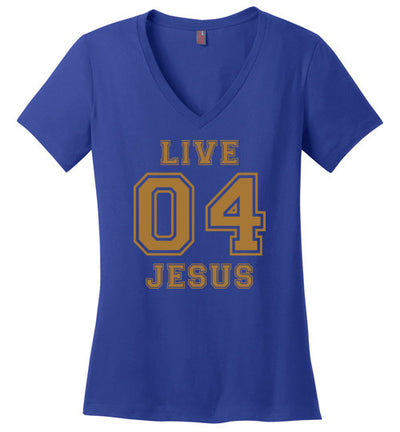 Ladies Classic Fit V-Neck - Live For Jesus