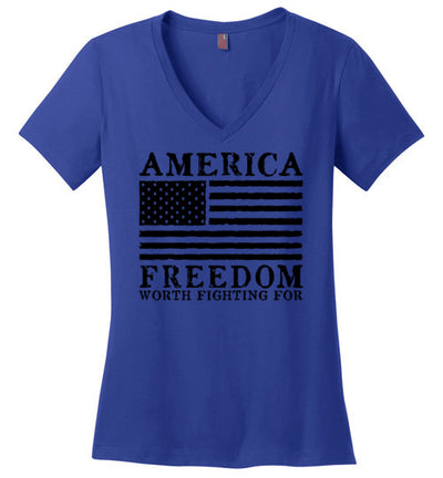 Ladies Classic Fit V-Neck - Freedom Worth Fighting For