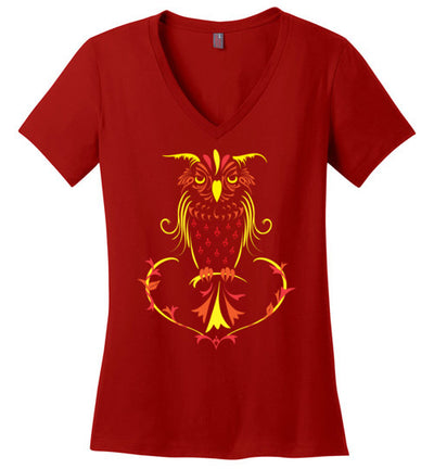 Ladies Classic Fit V-Neck - Fall Owl - Red Ink