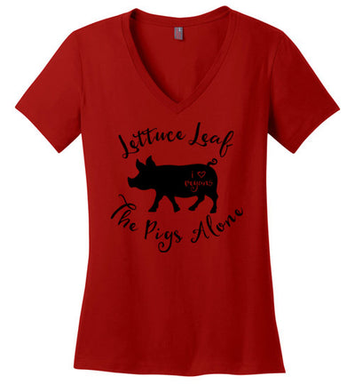 Ladies Classic Fit V-Neck - Lettuce Leaf The Pigs Alone
