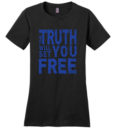 Ladies Classic Fit Crew - he Truth Will Set You Free - Blue Ink