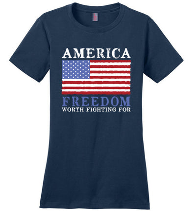 Ladies Classic Fit Crew - America Freedom