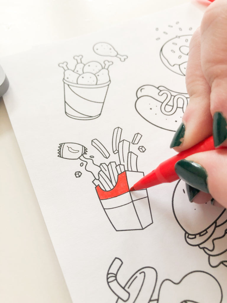 Coloring DIY Fast Food Stickers