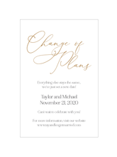 Change of Plans Card Insert
