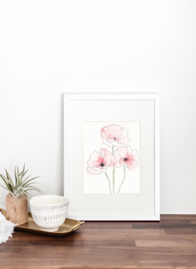 Icelandic Poppy Watercolor and Ink PRINT