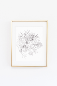 Bridal Bouquet and Floral Drawing