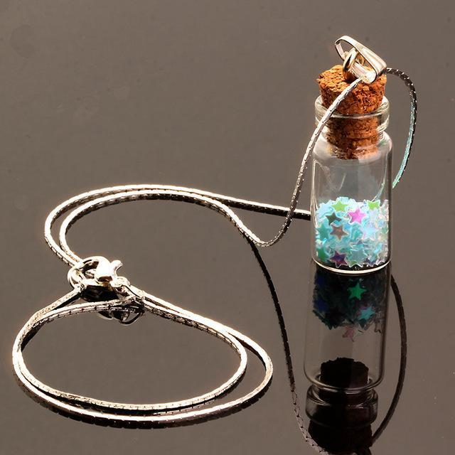 Colorful wish making ingredient filled vial necklace