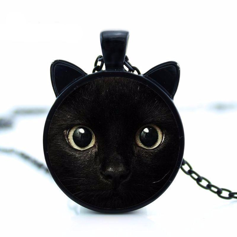 Black cat ears necklace and pendant