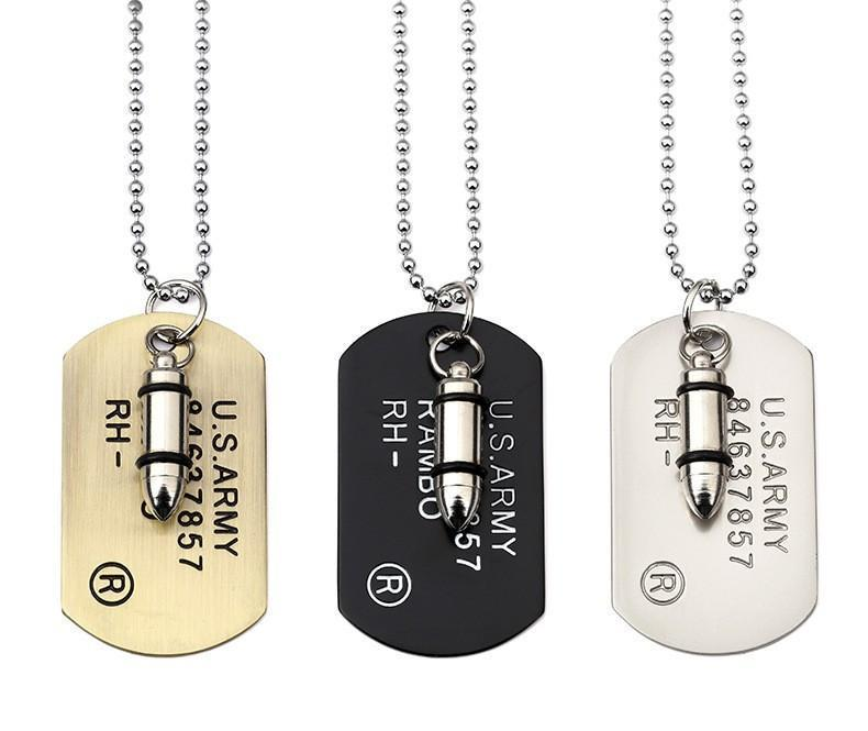 Rambo bullet dog tag necklace