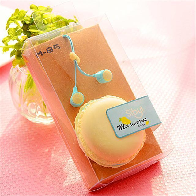 Cute macaron themed earbuds and case