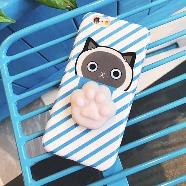 Squeezable cat paw with blue stripes Iphone case