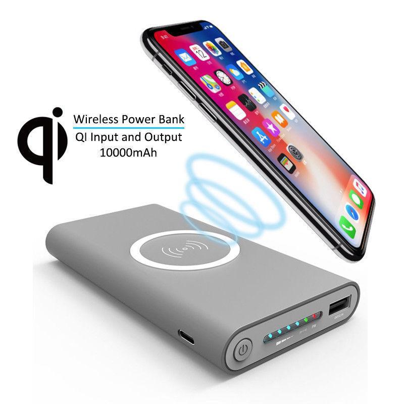 Wireless Power Bank Qi Portable Charger 10,000 mAh