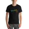Equality Rainbow Print T Shirt Unisex Black