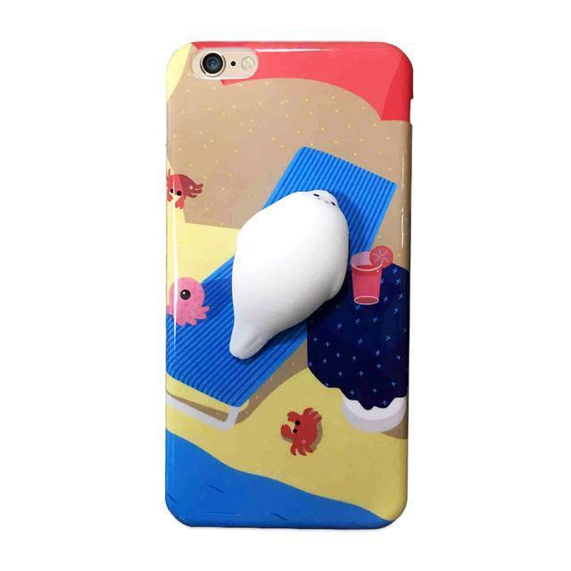 Fun squeezable seal chilling at the beach Iphone case