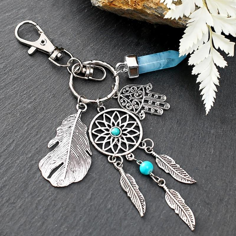 Dream Catcher Keychain with Quartz Stone