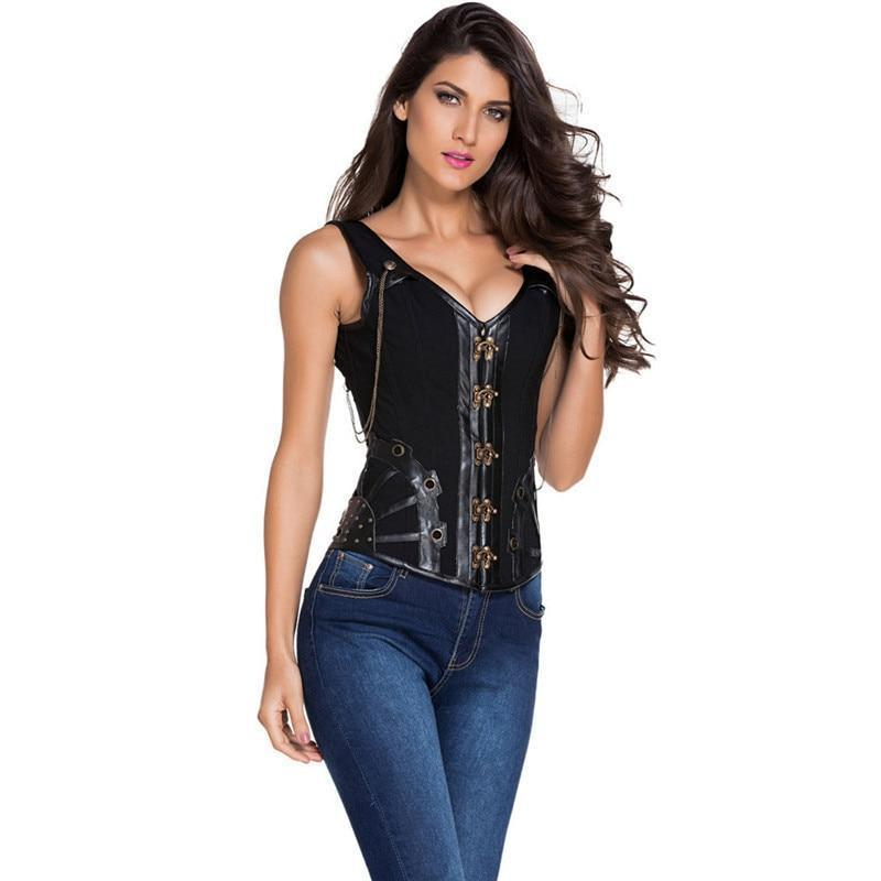 Steampunk Black Corset Top