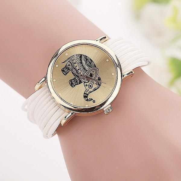Women's elephant wristwatch with chain clasp collection