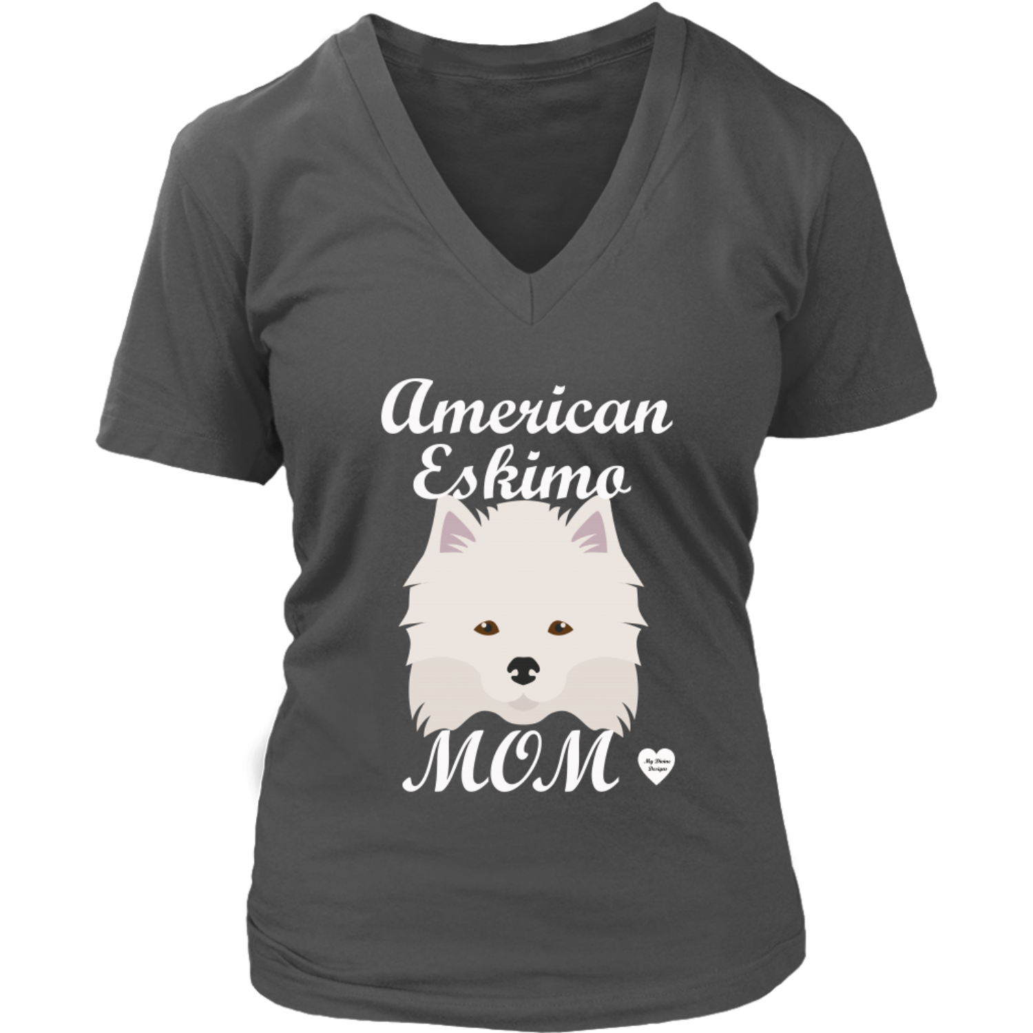 american eskimo mom v neck shirt charcoal