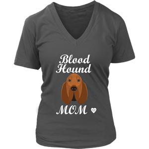 Bloodhound Mom V-Neck Charcoal