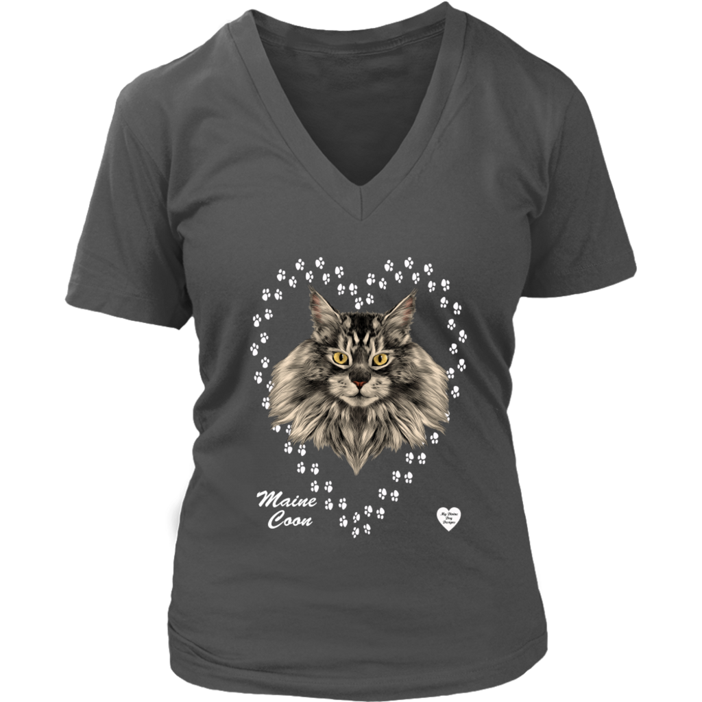 Maine Coon Cat in Heart V-Neck Charcoal