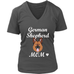 German Shepherd Mom V-Neck Shirt Charcoal