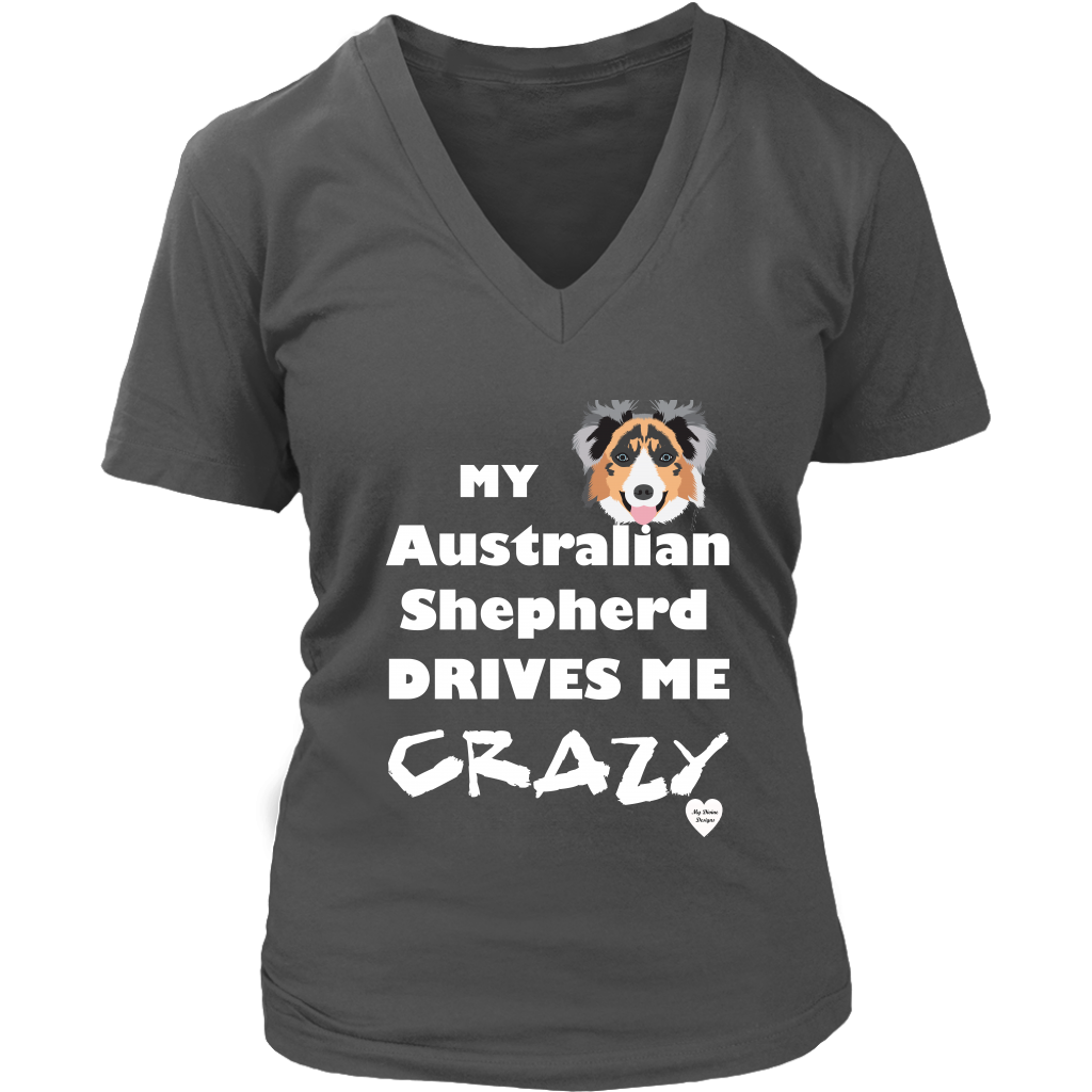 australian shepherd drives me crazy v-neck charcoal