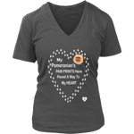 My Pomeranian's Paw Prints V-Neck Charcoal