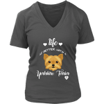 Life Is Better With A Yorkshire Terrier V-Neck Charcoal