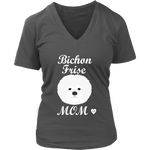 Bichon Frise V-Neck T-Shirt Charcoal