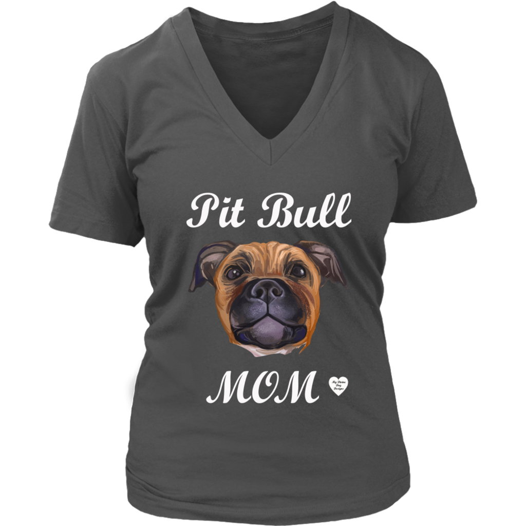 Pit Bull Mom Tan V-Neck