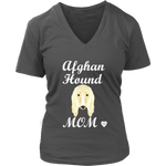 Afghan Hound Mom V-Neck Charcoal