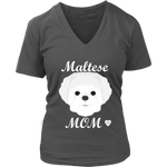 Maltese Mom V-Neck Charcoal