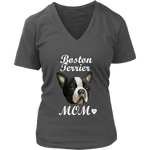 Boston Terrier Mom V-Neck Charcoal