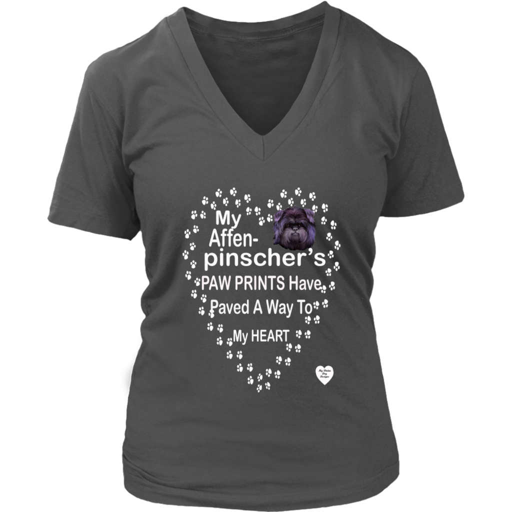 My Affenpinscher Paw Prints V-Neck Charcoal