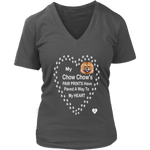 My Chow Chow's Paw Prints - Tan - V-Neck Charcoal