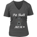 Pit Bull Mom V-Neck Charcoal