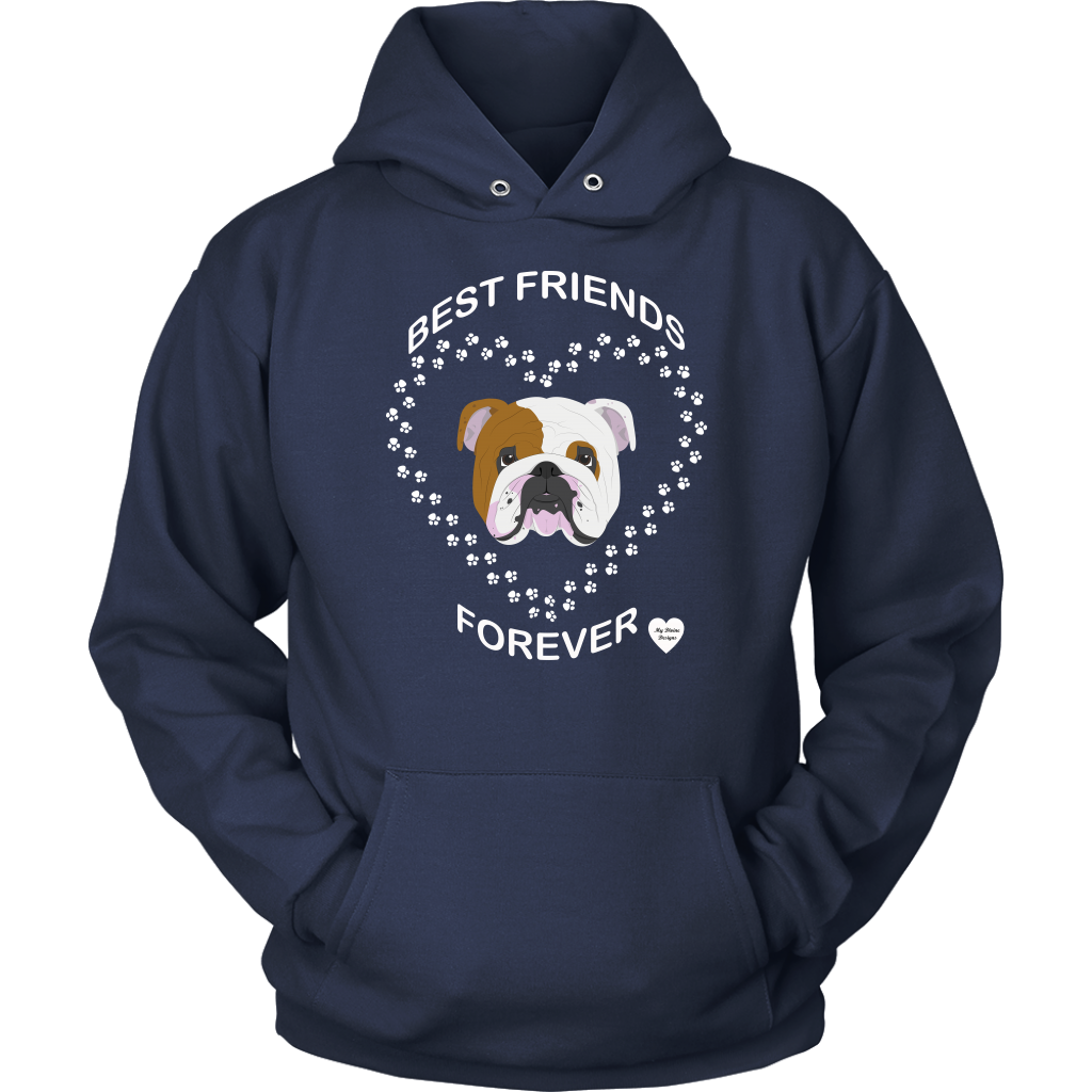 English Bulldog Best Friends Forever Hoodie Navy