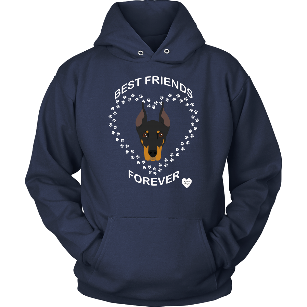 Doberman Best Friends Forever Hoodie Navy